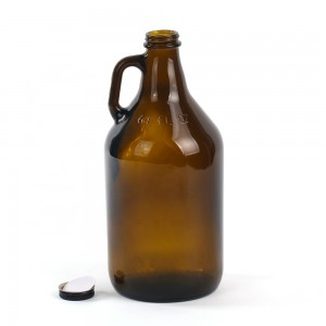 64oz Brown Glass Growler Bottle with Metal Lid