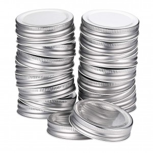 Regular Mouth 70mm Silver Mason Jar Tinplate Lids with Plastisol Liner