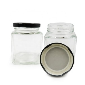 Wholesale Empty Square Glass Honey Jar Glass Candle Jar with Black Metal Lid