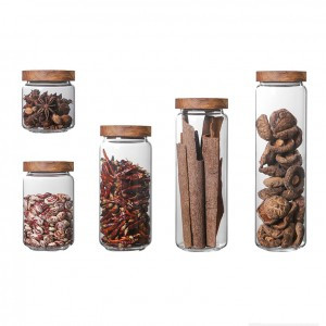 Kitchen Use Borosilicate Glass Food Storage Jar with Acacia Wooden Lid