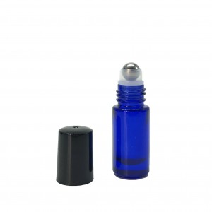 Cobalt Blue Roll On Essential Oil Bottle 5ml with Stainless Steel Roller Ball