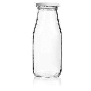 Food Grade 11oz 330ml Milk Glass Bottle with Metal Twist Off Lid