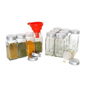 Wholesale 4oz 6oz 8oz Clear Square Glass Spice Jar For Salt Pepper Contain With Cap Spice Jar