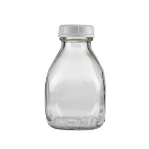 16oz 473ml Square Daily Milk Glass Bottle with Plastic Cap