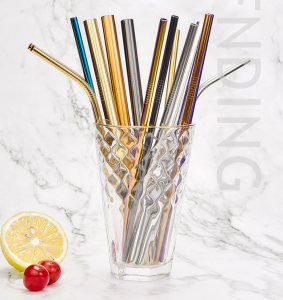 215mm SS304 Stainless Steel Colorful Straw for Boba Tea