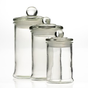 Clear Empty Glass Storage Jar Tea Container  Glass Lids