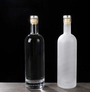 Frosted 500ml glass vodka bottle with cork