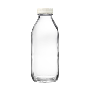 32oz Cold Pressed Square Glass Juice Milk Bottle with Plastic Lid