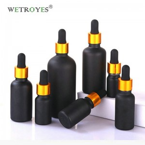 Black Glass Dropper Bottle for essential Oil with Gold Dropper