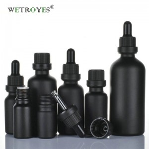 Matte Black Glass Bottle Essential Oil with Screw Cap and Dropper