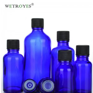Cobalt Blue Glass Bottle for Essential Oil with Plastic Cap