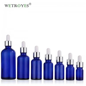 Cobalt Blue Essential Oil Glass Bottles with Glass Dropper