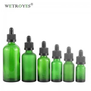 Essential Oil Green Glass Bottles for Body Oil with Dropper