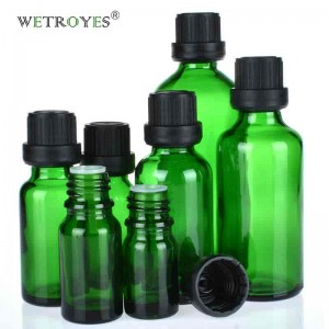 Wholesale Green Glass Bottle with Tamper Evident Caps