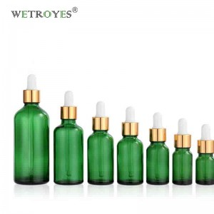 Green Essential Oil Bottles Empty with Aluminum Dropper
