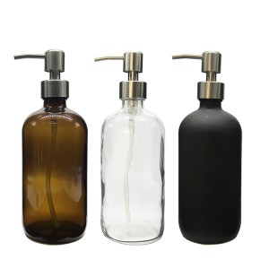 Hot Sale for China Clear Glass Bottle for Hand Sanitizer and Soap Glass Soap Dispenser for Home Use
