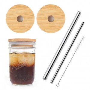 Reusable Bamboo Wide Mouth Mason Jar Lids with Straw Hole