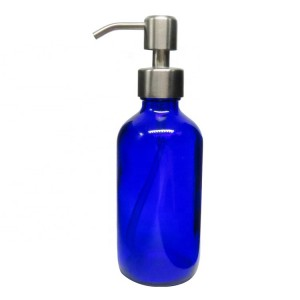 8oz Blue Boston Round Glass Bottle for Kitchen Bathroom Laboratory with Steel Pump Lid