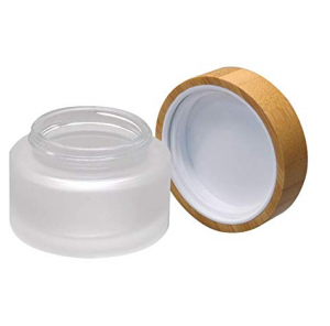 Custom Made 30ml Frost Glass Cosmetic Jar Cream Jar with Bamboo Lid for Lip Balm