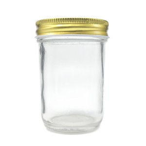 Clear Glass Jars 8 oz Clear Glass Jelly Jars w/ Gold Metal Plastisol Lined Caps