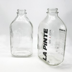 64oz Glass Rectangular Vintage Style Half Gallon Jugs 2 Quart Glass Milk Bottles