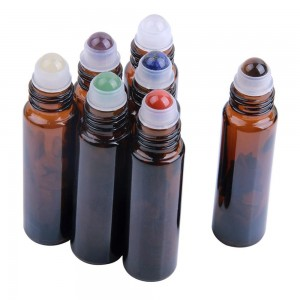 Hot Sales 10ml Amber Essential Oil Bottle with Gemstone Roller Bottle Tops