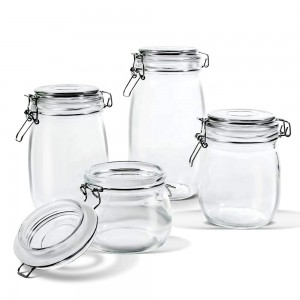 500ml 700ml 1000ml Canning Jars Glass Jars for Jam Honey with Clamp Lids