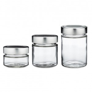 100ml 140ml 180ml 280ml 380ml 500ml Straight Side Glass Jam Jar with Metal Deep Lids