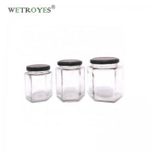 Large 730ml Hexagon Glass Jar for Pickles Sauce Honey with Metal Lug Cap