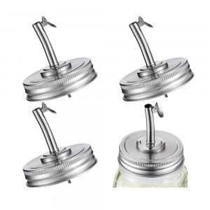 70mm Stainless Steel Mason Jar Oil Spout Lid Oil Pour Spout Dispenser Lids