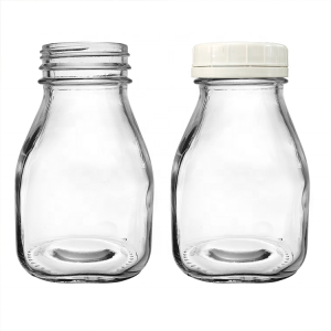 Square 10oz 300ml Glass Milk Bottle with Airtight Plastic Lid
