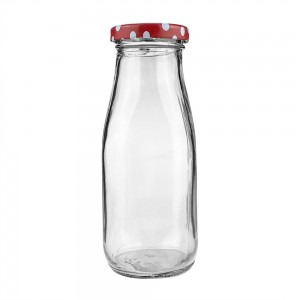 330ml Milk Glass Bottles for Milk Juice with Metal Lids