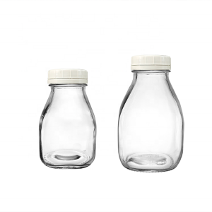 300ml 500ml Clear Glass Milk Juice Bottle with White Plastic Lid