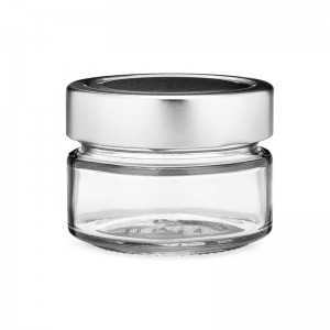 3 oz 106 ml Glass Ergo Food Jars with Silver Metal Lug Cap