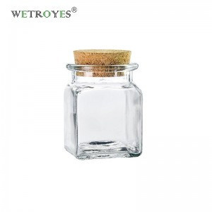 1.7oz Square Glass Jars with Cork Stoppers