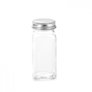 120ml Square Glass Salt Bottle Sugar Jar with Plastic Insert and Aluminum Cap 4oz Glass Spice Jar