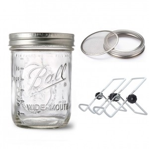 Sprouting Set 16 OZ Mason Jar with Stainless Steel Lids and Stands