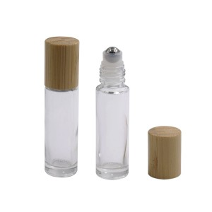 Transparent 10ml natural bamboo cap roll on bottle