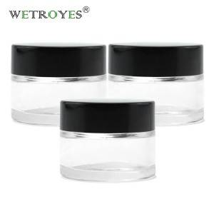 Glass Eye Care Cream Jar with Black lid Cosmetic Packaging 15ml Mini Round Empty Container