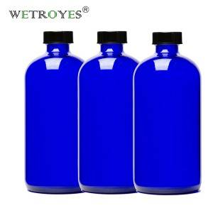 1oz 2oz 4oz 8oz 16oz Cobalt Blue Boston Bottle with Phenolic Cap