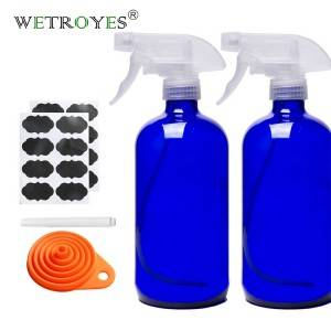 Refillable 500ml Blue Glass Trigger Spray Bottle with White or Black Plastic Trigger Spray Lid
