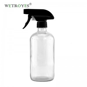 16 OZ 480 ML Clear Glass Bottle with Black Trigger Sprayer