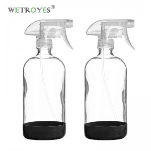16 OZ 480 ML Silicone Sleeve Glass Bottle with Trigger Sprayer