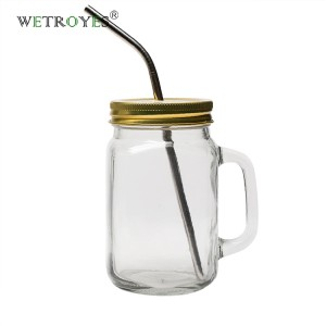 16oz Drinking Mason Jar with Handle