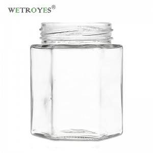 6 oz. 180 ml Hex Glass Jar with Metal Lug Cap
