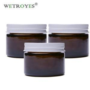 Factory Price 1oz 30ml Amber Glass Cream Jar with White Metal Lid