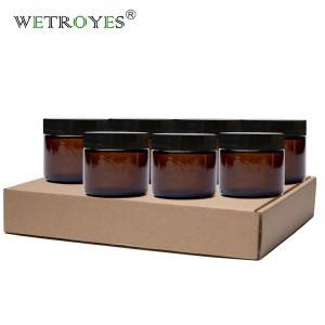 Cosmetic Cream Jars 5g 10g 15g 20g 30g 50g 100g 1oz 2oz Amber Glass Jar with Gold Silver Black Cap