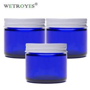 2oz Cobalt Blue Straight Side Jar with White Metal Lid