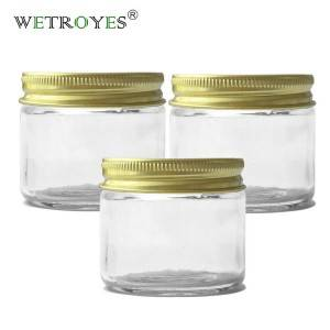 2oz Glass Straight Side Jar 60ml with Golden or Silver Lid