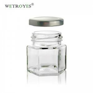 1.5oz 45ml Hexagon Glass Honey Jar with Silver Metal Lug Cap